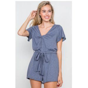 Front Roll Knot Jersey Romper - Blue